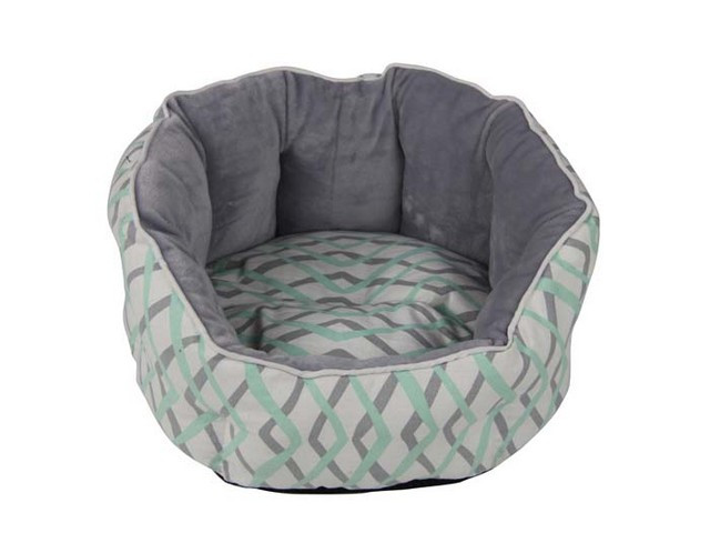 Pet Bed Mint Herringbone