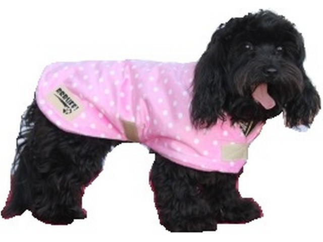 Minky Fleece Dog Coat - Baby Pink Polka Dot