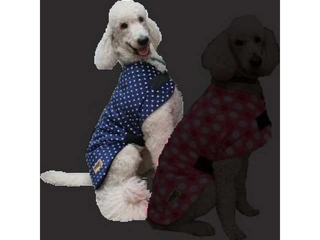 Minky Fleece Dog Coat - Dark Blue Polka Dot
