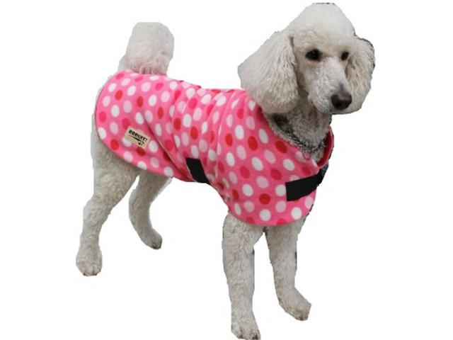 Polar Fleece Dog Coat – Pink with Pink/White Spots